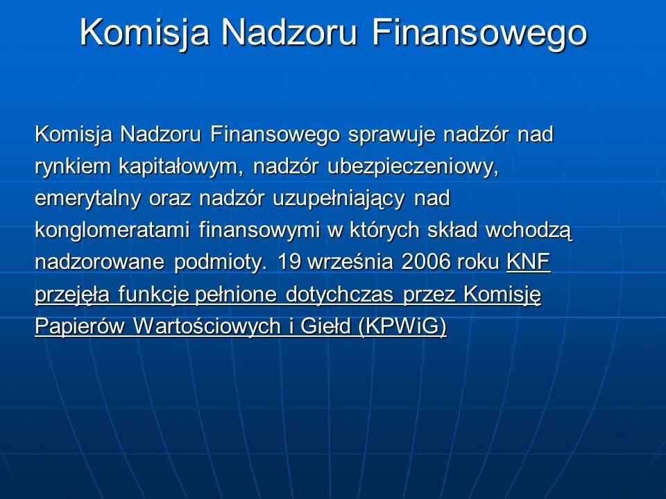 Komisja Nadzoru Finansowego Komisja Nadzoru Finansowego sprawuje nadzór nad rynkiem kapitałowym, nadzór ubezpieczeniowy, emerytalny oraz nadzór uzupeł