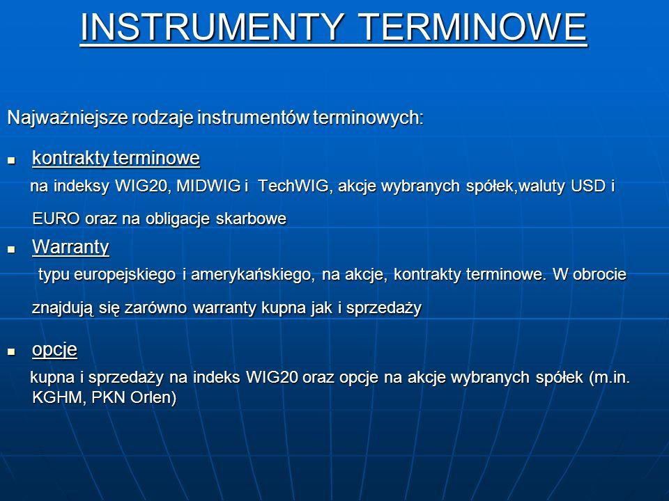 INSTRUMENTY TERMINOWE INSTRUMENTY TERMINOWE Najważniejsze rodzaje instrumentów terminowych: kontrakty terminowe kontrakty terminowe na indeksy WIG20,