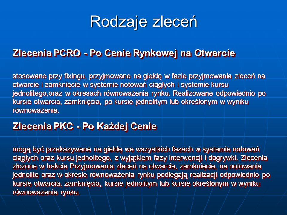 Rodzaje zleceń Zlecenia PCRO - Po Cenie Rynkowej na Otwarcie stosowane przy fixingu, przyjmowane na giełdę w fazie przyjmowania zleceń na otwarcie i z