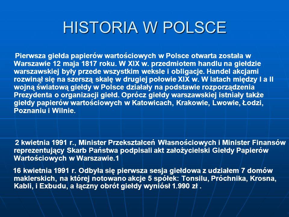 HISTORIA W POLSCE Pierwsza giełda papierów wartościowych w Polsce otwarta została w Warszawie 12 maja 1817 roku. W XIX w. przedmiotem handlu na giełdz