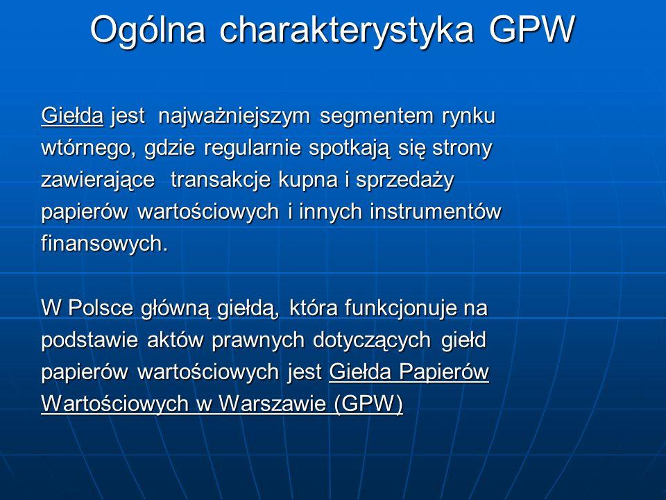 Ogólna charakterystyka GPW GPW w Warszawie jest to spółka akcyjna założona przez Skarb Państwa GPW w Warszawie jest to spółka akcyjna założona przez Skarb Państwa Udziałowcami są Skarb Państwa, banki i domy maklerskie Udziałowcami są Skarb Państwa, banki i domy maklerskie