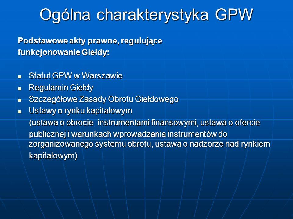 Podstawowe akty prawne, regulujące funkcjonowanie Giełdy: Statut GPW w Warszawie Statut GPW w Warszawie Regulamin Giełdy Regulamin Giełdy Szczegółowe