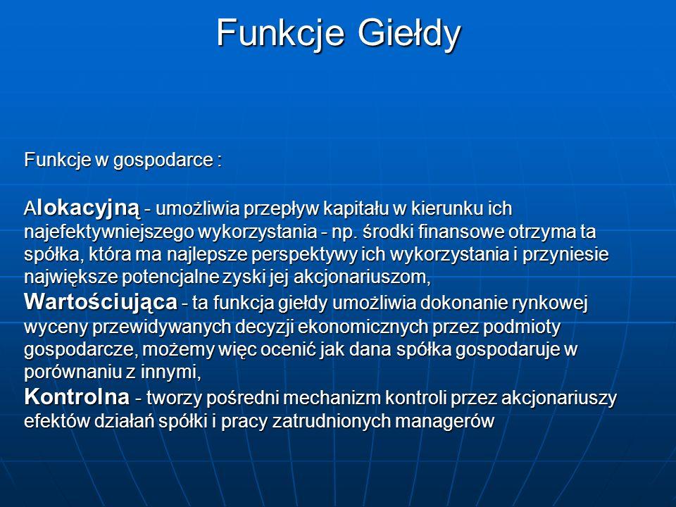 Najważniejsze organy GPW w Warszawie Walne Zgromadzenie GPW to jej akcjonariusze.