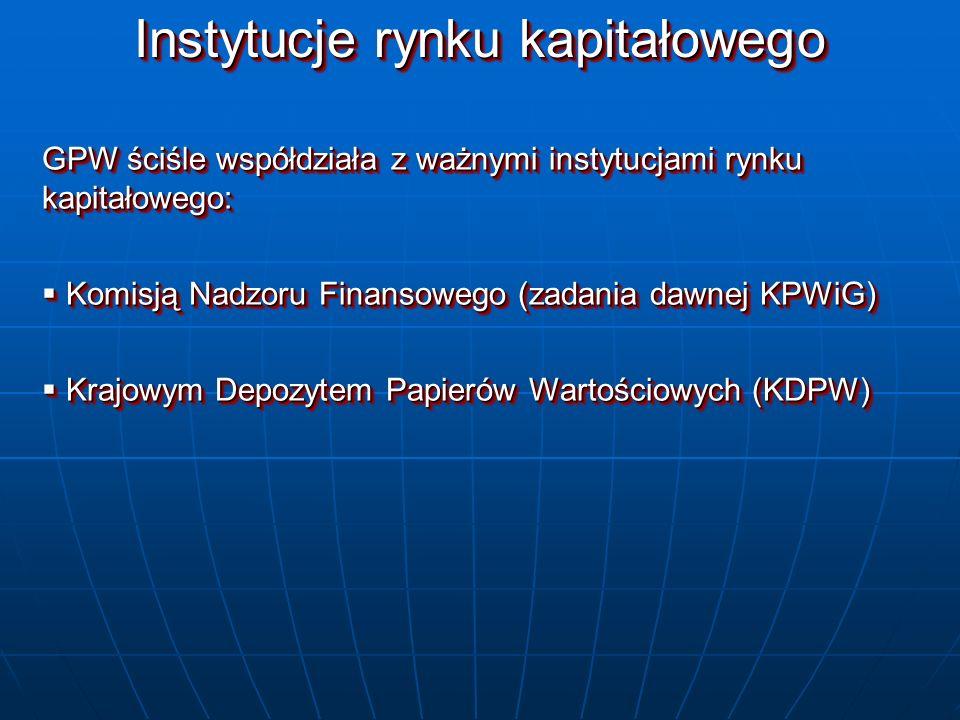 Instytucje rynku kapitałowego GPW ściśle współdziała z ważnymi instytucjami rynku kapitałowego: Komisją Nadzoru Finansowego (zadania dawnej KPWiG) Kom