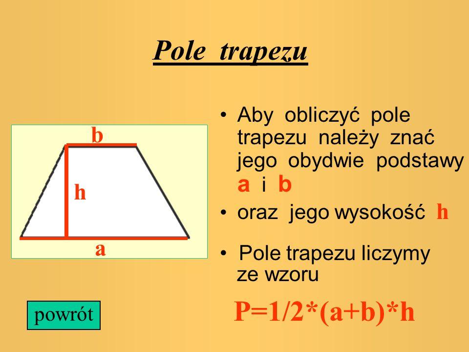 Pole równoległoboku Pole równoległoboku liczymy według wzoru P=a*h, gdzie a jest podstawą, h jest wysokością a h powrót