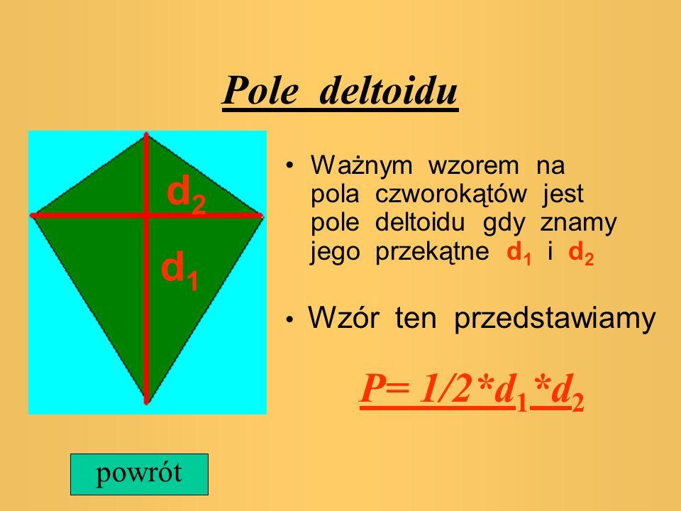 Pole rombu Ważnym wzorem na pola czworokątów jest pole rombu, gdy znamy jego przekątne d 1 i d 2 Wzór ten przedstawiamy P= 1/2*d 1 *d 2 d1d1 d2d2 powr