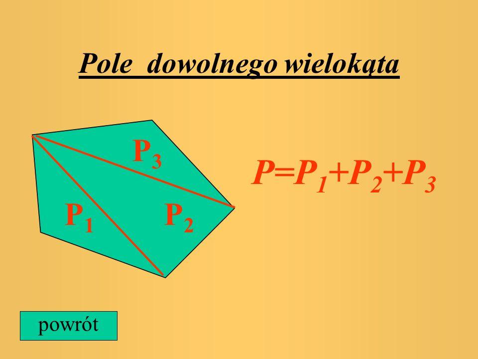 Pole trójkąta równobocznego Pole trójkąta równobocznego liczymy ze wzoru P=1/4*a 2 *V3, gdzie a jest długością boku a powrót