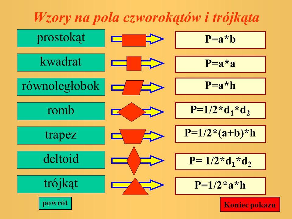 Pole dowolnego wielokąta P=P 1 +P 2 +P 3 powrót P1P1 P2P2 P3P3