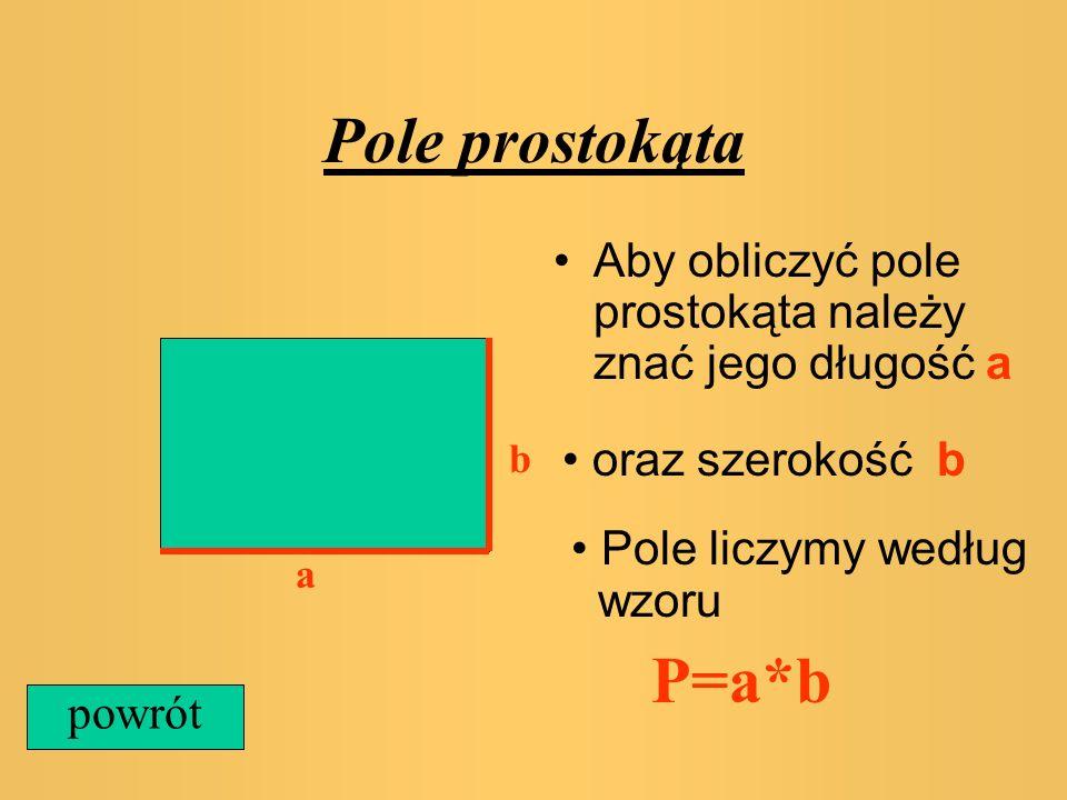 Pole trójkąta Aby obliczyć pole trójkąta należy znać : aoraz h a h Pole liczymy według wzoru P=1/2*a*h powrót trójkąt prostokątny