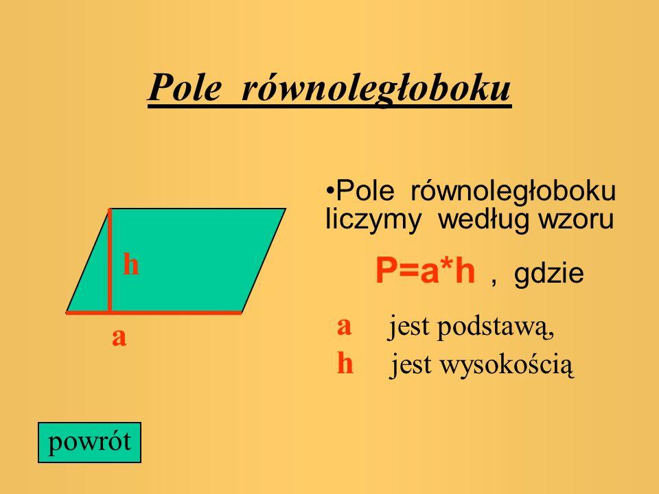 Pole kwadratu W szczególności pole kwadratu o boku a liczymy według wzoru : a P=a*a powrót