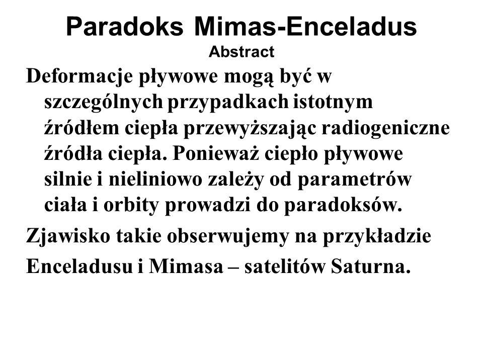 Enceladus (aktywny!) q tidal =1 Ra _tidal /Ra _tidal_Ence =1 Mimas (martwy) q tidal =42 Ra _tidal /Ra _tidal_Ence =3.42 Dione (aktywny w przeszłości ale obecnie martwy) q tidal =0.15 Ra _tidal/Ra_tidal_Ence =15.3 Oszacowania q tidal i Ra czyli Mimas-Enceladus-Dione Paradoks