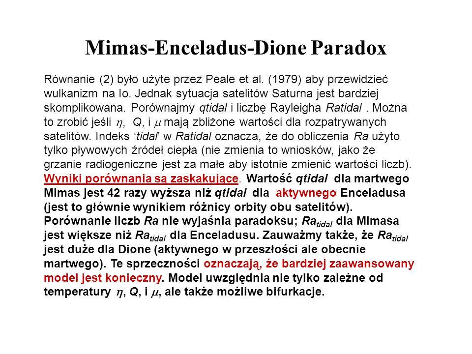 Mimas-Enceladus-Dione Paradox Równanie (2) było użyte przez Peale et al. (1979) aby przewidzieć wulkanizm na Io. Jednak sytuacja satelitów Saturna jes