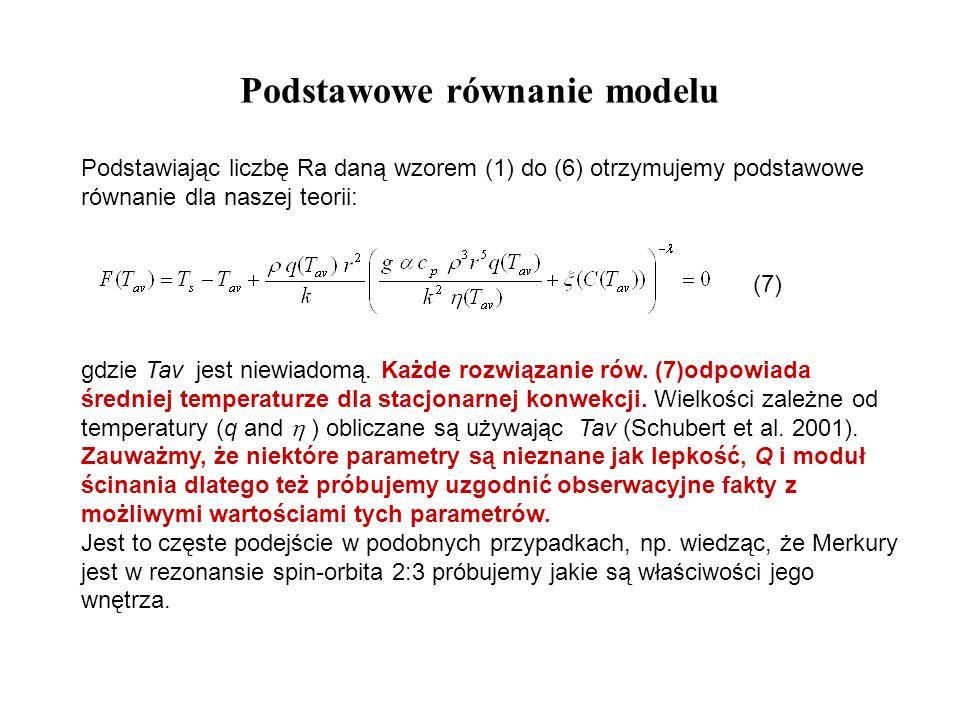 Podstawowe równanie modelu Podstawiając liczbę Ra daną wzorem (1) do (6) otrzymujemy podstawowe równanie dla naszej teorii: (7) gdzie Tav jest niewiad