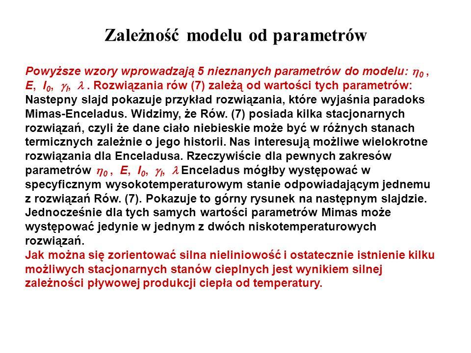 Zależność modelu od parametrów Powyższe wzory wprowadzają 5 nieznanych parametrów do modelu: 0, E, I 0, I,. Rozwiązania rów (7) zależą od wartości tyc