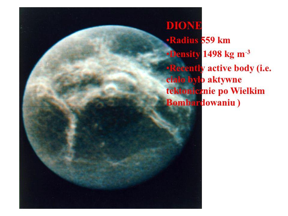 Dione (trailing hemisphere) DIONE Radius 559 km Density 1498 kg m -3 Recently active body (i.e. ciało było aktywne tektonicznie po Wielkim Bombardowan