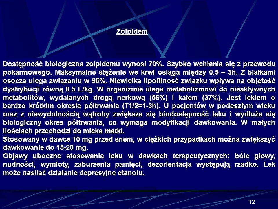 11 Zolpidem (Stilnox), pochodna imidazopirydyny. Zaliczany do III generacji (po barbituranach i benzodiazepinach) leków nasennych. Jest krótko działaj