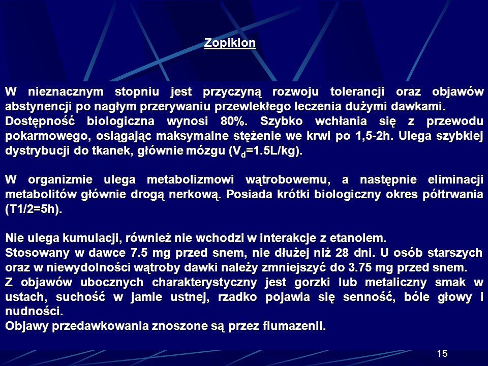 14 Zopiklon Zopiklon (Imovane), pochodna cyklopyrolonu. Wykazuje szerokie spektrum aktywności farmakologicznej. Działa nasennie, przeciwlękowo, przeci