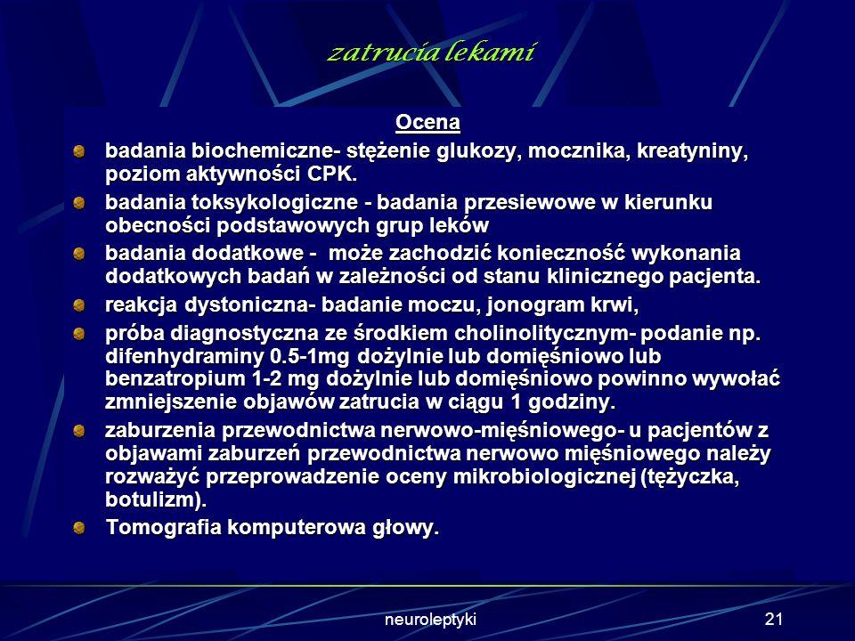 neuroleptyki20 zatrucia lekami Diagnostyka różnicowa Diagnostyka różnicowa obejmuje: ostre stany psychotyczne, zatrucie lekami z grupy trójcyklicznych