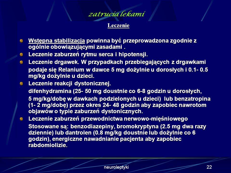 neuroleptyki21 zatrucia lekami Ocena badania biochemiczne- stężenie glukozy, mocznika, kreatyniny, poziom aktywności CPK. badania toksykologiczne - ba