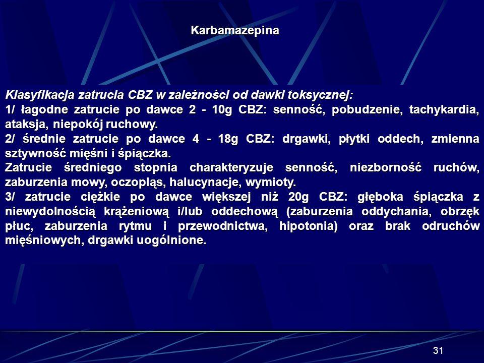 30 Diagnostyka: Opiera się na wywiadzie lekarskim, objawy kliniczny takie jak ataksja, stupor i tachykardia z równoczesnym podwyższeniem poziomu karba
