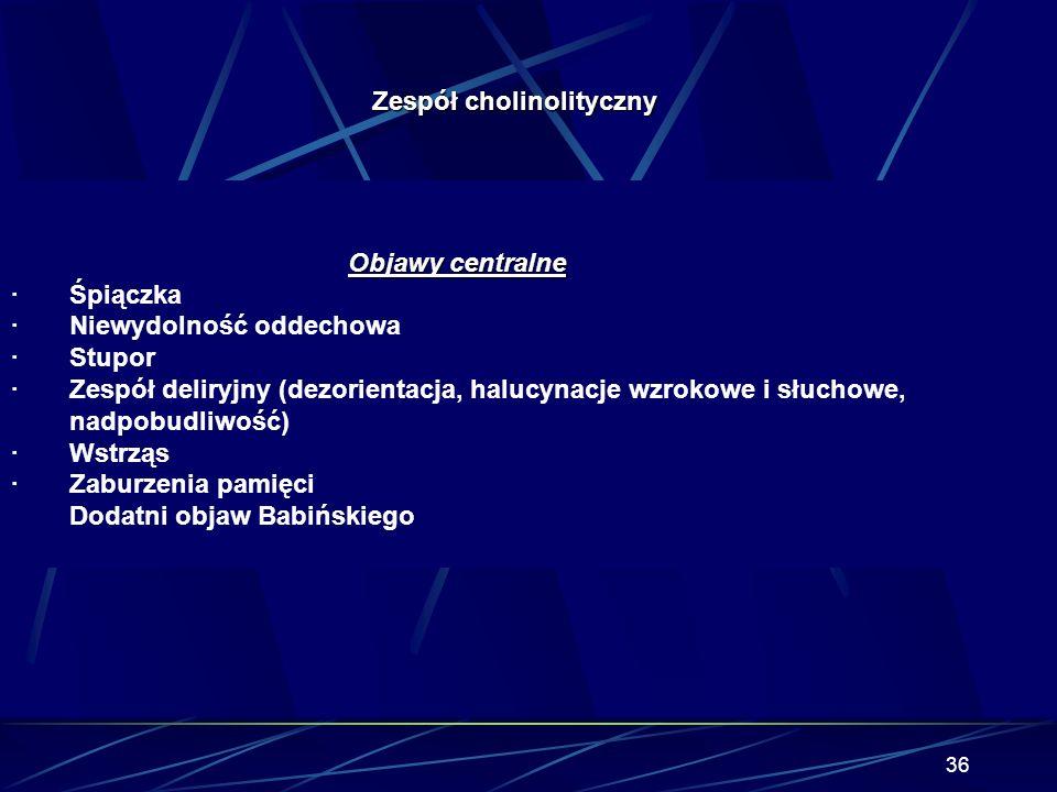 35 Zespół cholinolityczny Receptory cholinergiczne Nikotynowe – zwoje autonomiczne, rdzeń nadnerczy, płytka nerwowo- mięśniowa, OUN. płytka nerwowo- m