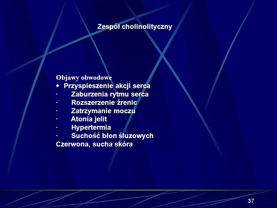 36 Zespół cholinolityczny Objawy centralne Objawy centralne · Śpiączka · Niewydolność oddechowa · Stupor · Zespół deliryjny (dezorientacja, halucynacj