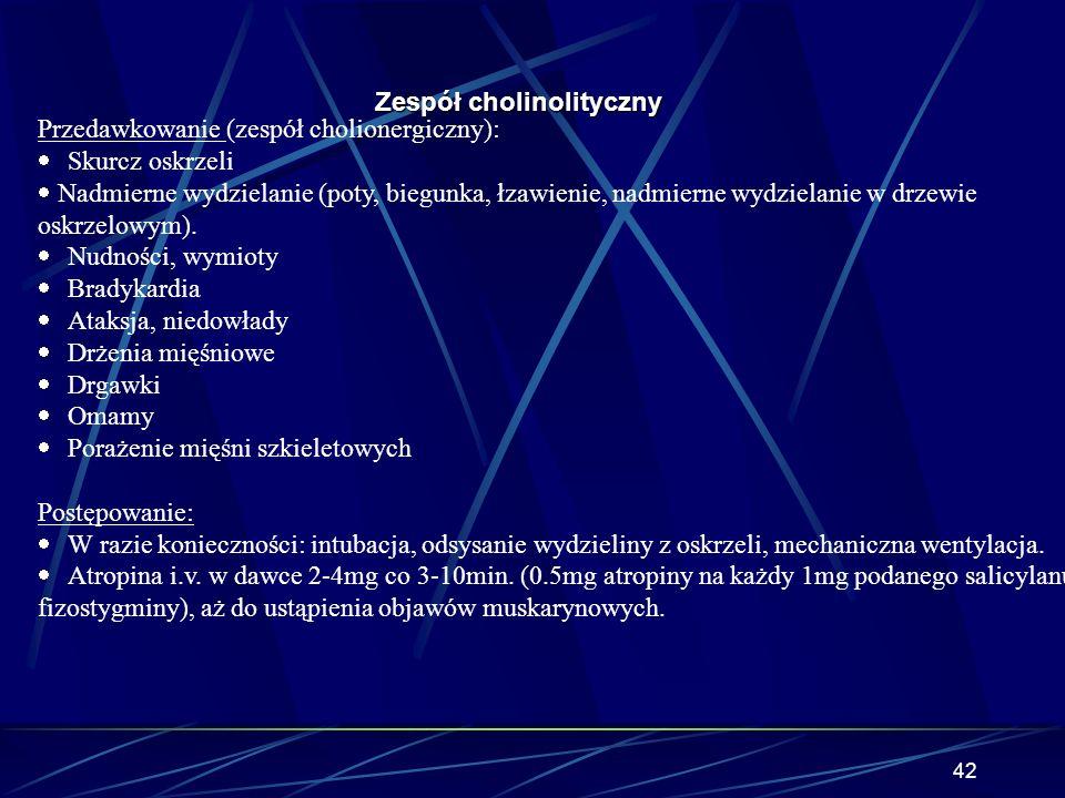 41 Zespół cholinolityczny Salicylan fizostygminy cd. Przeciwwskazania: Astma oskrzelowa Cukrzyca Mechaniczna niedrożność jelit Zatrzymanie moczu (prze