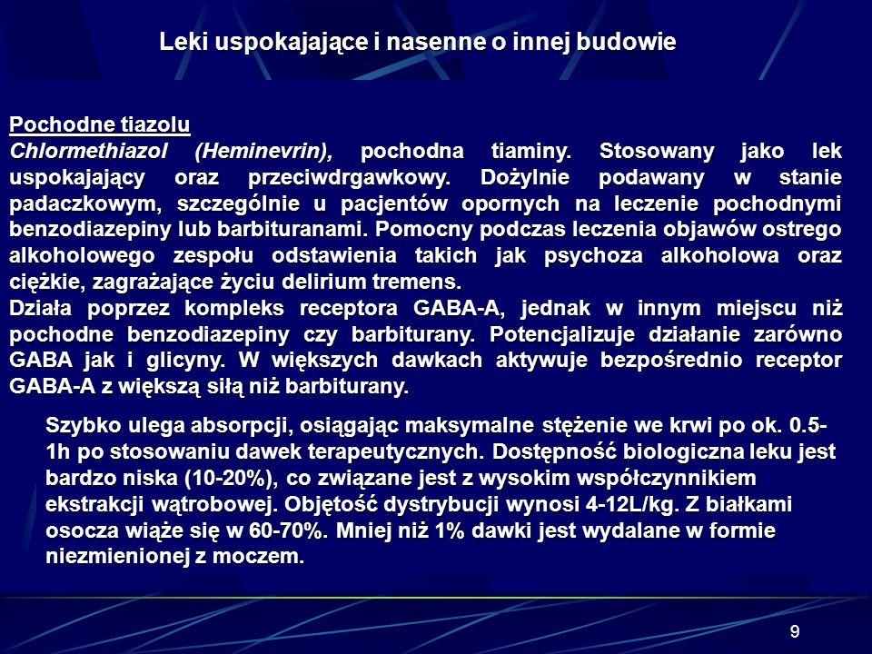 39 Zespół cholinolityczny Leki przeciwhistaminowe dimenhydrynat (Aviomarin), Hydroxyzyna (Atarax) dimenhydrynat (Aviomarin), Hydroxyzyna (Atarax) leki stosowane w chorobie Parkinsona leki stosowane w chorobie Parkinsona Parkopan (triheksyfenidyl), Akineton (biperiden), Pridinol, Parkopan (triheksyfenidyl), Akineton (biperiden), Pridinol, Cogentin (benzatropina).