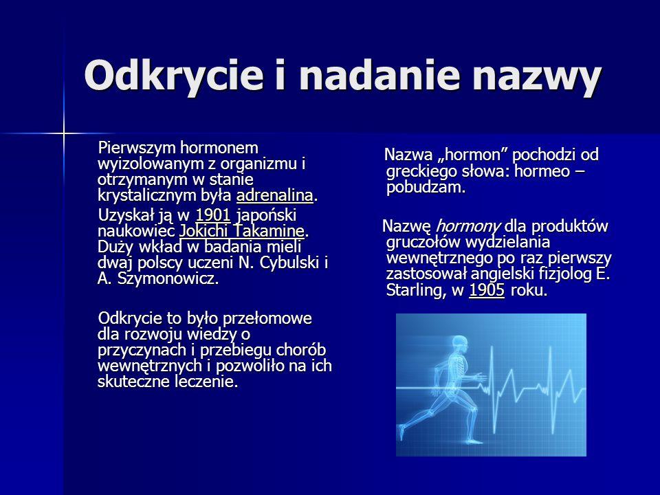 Odkrycie i nadanie nazwy Pierwszym hormonem wyizolowanym z organizmu i otrzymanym w stanie krystalicznym była adrenalina. Pierwszym hormonem wyizolowa
