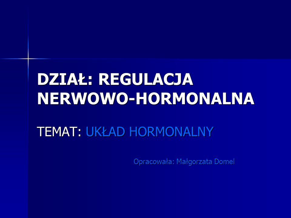 DZIAŁ: REGULACJA NERWOWO-HORMONALNA TEMAT: UKŁAD HORMONALNY Opracowała: Małgorzata Domel