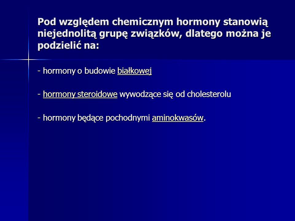 Pod względem chemicznym hormony stanowią niejednolitą grupę związków, dlatego można je podzielić na: - hormony o budowie białkowej białkowej - hormony