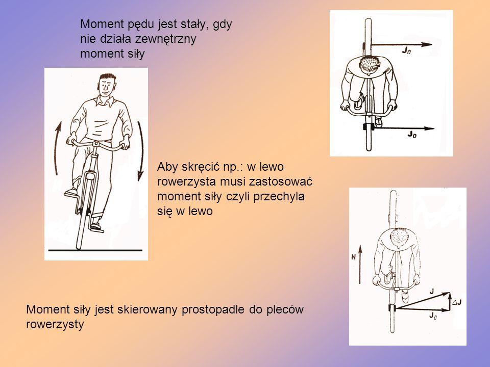 Moment pędu jest stały, gdy nie działa zewnętrzny moment siły Moment siły jest skierowany prostopadle do pleców rowerzysty Aby skręcić np.: w lewo row