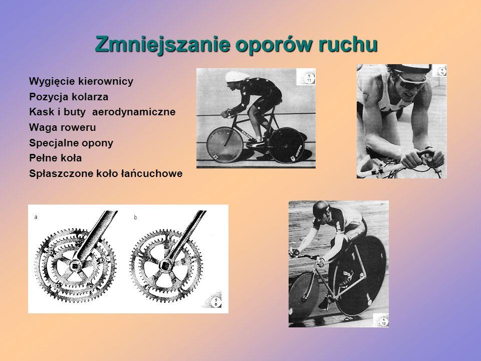 Zmniejszanie oporów ruchu Wygięcie kierownicy Pozycja kolarza Kask i buty aerodynamiczne Waga roweru Specjalne opony Pełne koła Spłaszczone koło łańcu