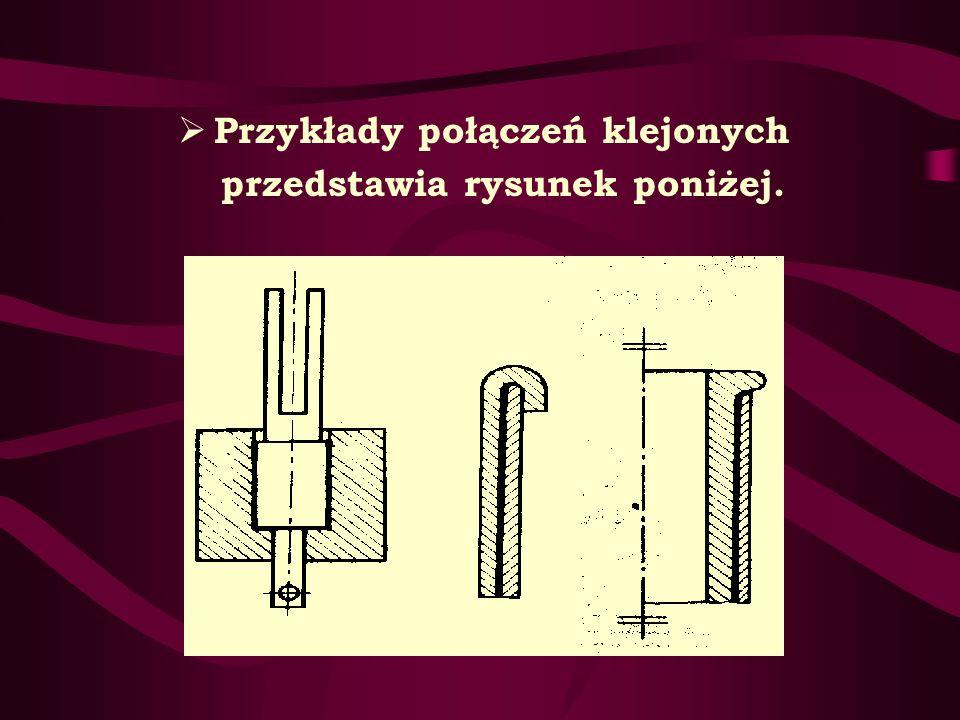 Przykłady połączeń klejonych przedstawia rysunek poniżej.