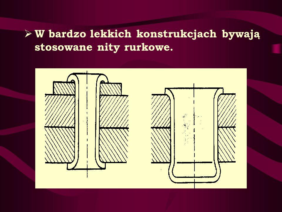 W bardzo lekkich konstrukcjach bywają stosowane nity rurkowe.