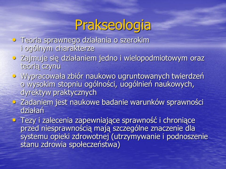 Prakseologia Teoria sprawnego działania o szerokim i ogólnym charakterze Teoria sprawnego działania o szerokim i ogólnym charakterze Zajmuje się dział