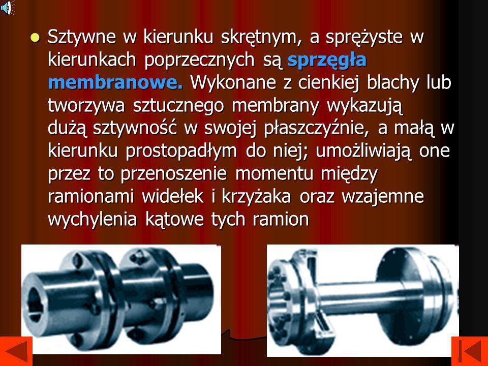 Sprzęgła podatne skrętnie Podatne skrętnie sprzęgła, w których moment jest przenoszony przez elementy odkształcalne, służą do zmniejszenia obciążeń dynamicznych.