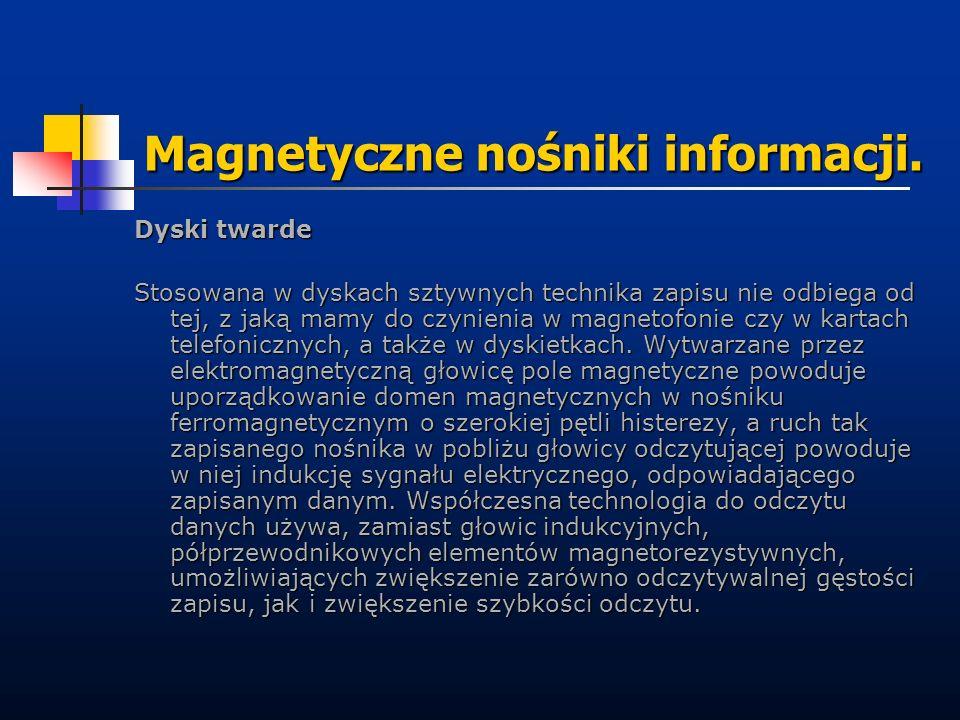 Magnetyczne nośniki informacji. Dyski twarde Stosowana w dyskach sztywnych technika zapisu nie odbiega od tej, z jaką mamy do czynienia w magnetofonie