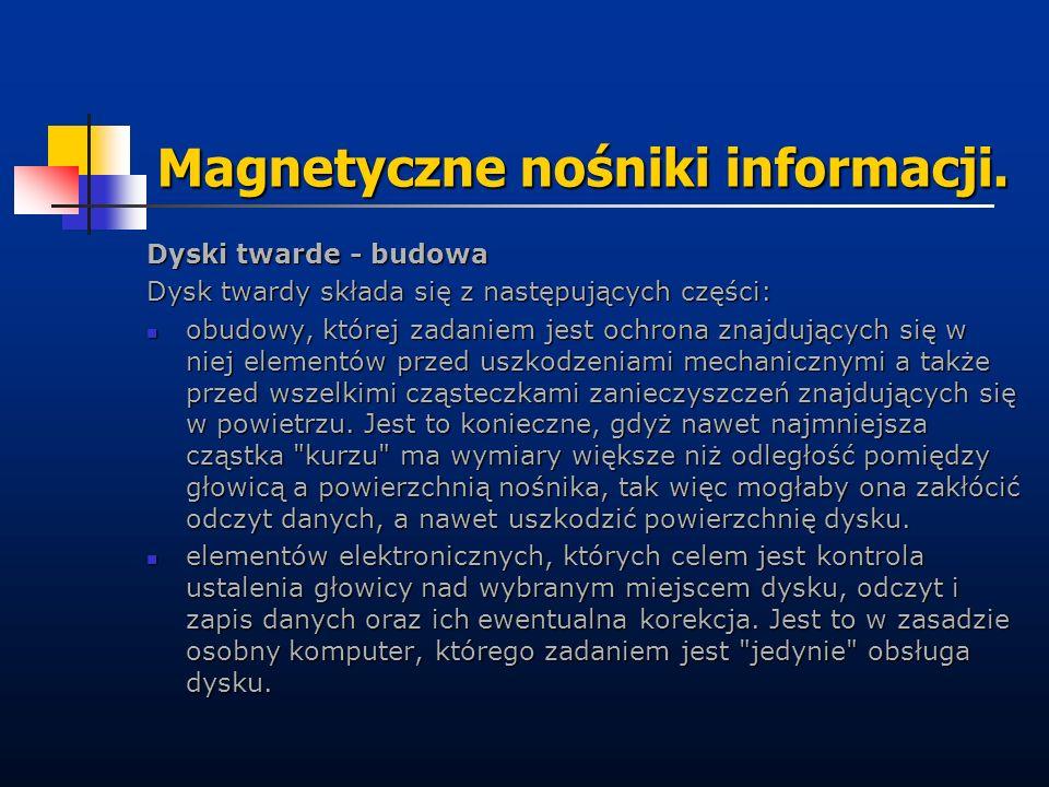Magnetyczne nośniki informacji. Dyski twarde - budowa Dysk twardy składa się z następujących części: obudowy, której zadaniem jest ochrona znajdującyc