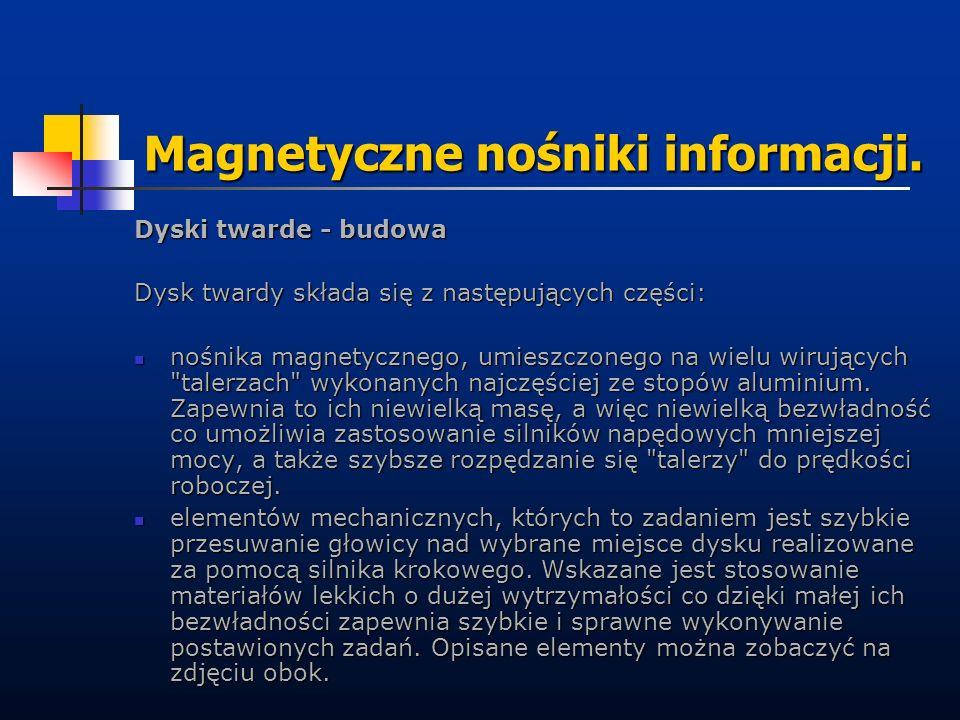 Magnetyczne nośniki informacji. Dyski twarde - budowa Dysk twardy składa się z następujących części: nośnika magnetycznego, umieszczonego na wielu wir