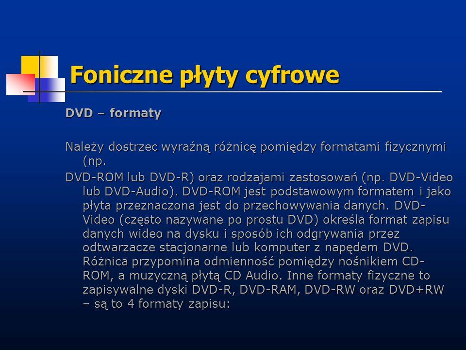 DVD – formaty Należy dostrzec wyraźną różnicę pomiędzy formatami fizycznymi (np. DVD-ROM lub DVD-R) oraz rodzajami zastosowań (np. DVD-Video lub DVD-A
