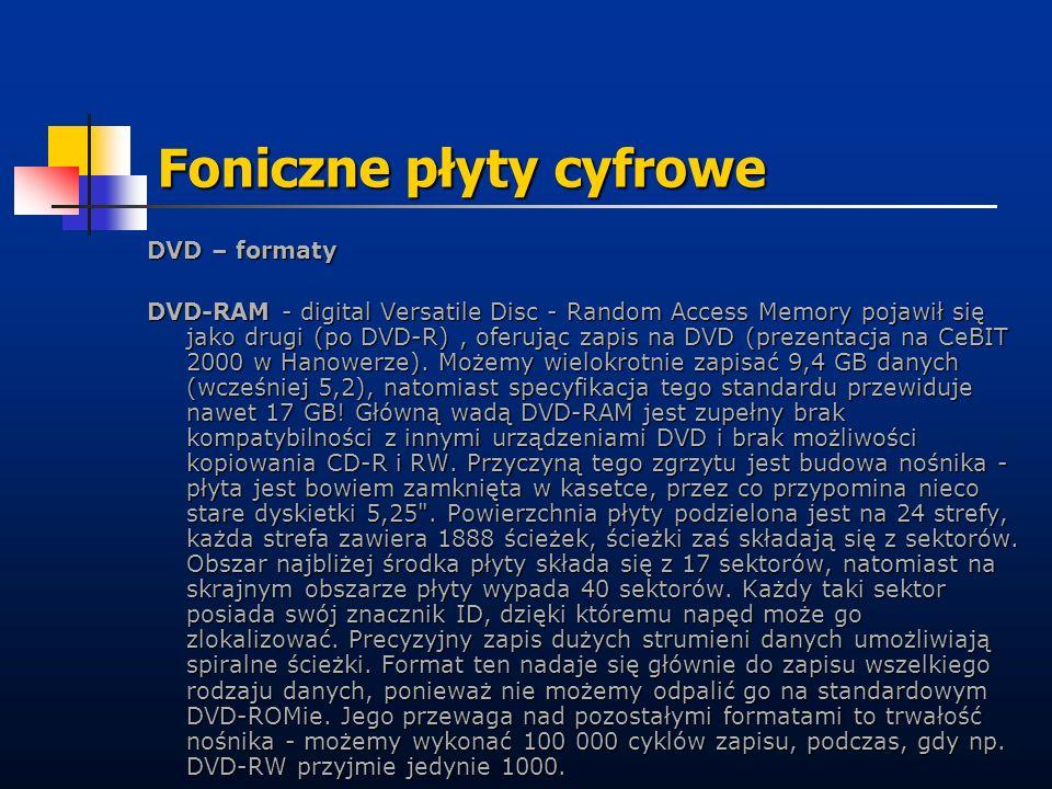 Foniczne płyty cyfrowe DVD – formaty DVD-RAM - digital Versatile Disc - Random Access Memory pojawił się jako drugi (po DVD-R), oferując zapis na DVD