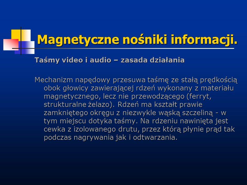 Magnetyczne nośniki informacji. Taśmy video i audio – zasada działania Mechanizm napędowy przesuwa taśmę ze stałą prędkością obok głowicy zawierającej