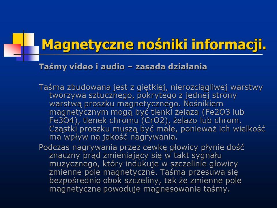Magnetyczne nośniki informacji. Taśmy video i audio – zasada działania Taśma zbudowana jest z giętkiej, nierozciągliwej warstwy tworzywa sztucznego, p