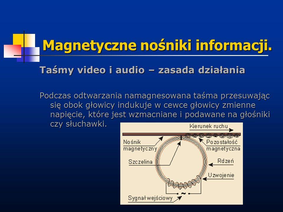 Magnetyczne nośniki informacji. Taśmy video i audio – zasada działania Podczas odtwarzania namagnesowana taśma przesuwając się obok głowicy indukuje w