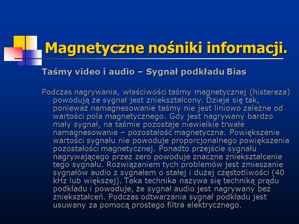 Magnetyczne nośniki informacji. Taśmy video i audio – Sygnał podkładu Bias Podczas nagrywania, właściwości taśmy magnetycznej (histereza) powodują że