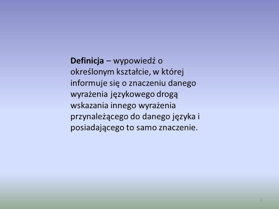 Definicja – wypowiedź o określonym kształcie, w której informuje się o znaczeniu danego wyrażenia językowego drogą wskazania innego wyrażenia przynale