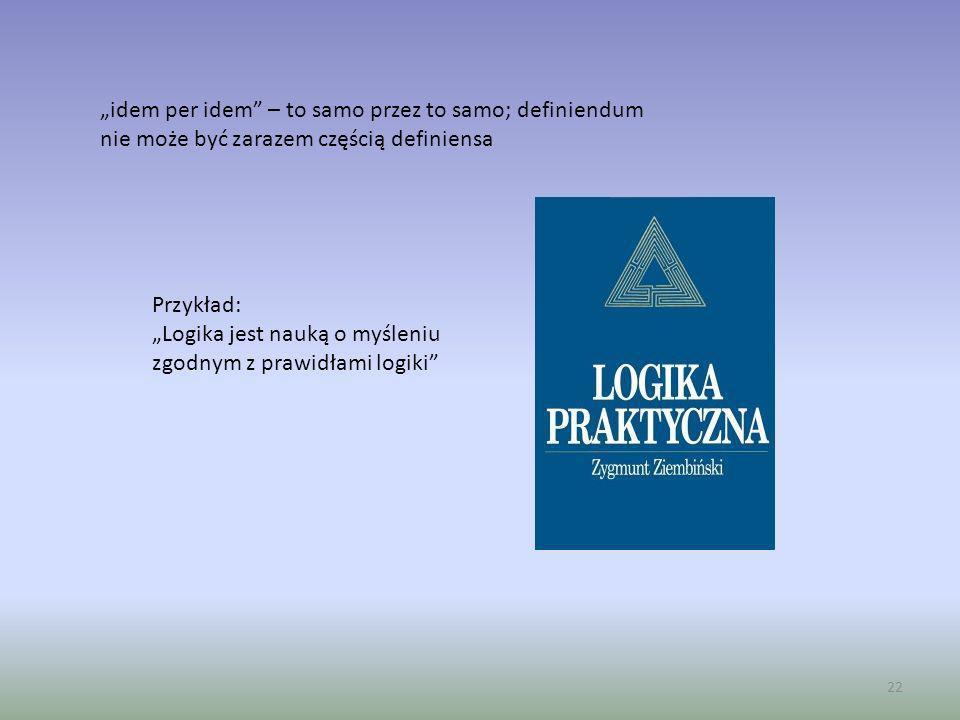 22 idem per idem – to samo przez to samo; definiendum nie może być zarazem częścią definiensa Przykład: Logika jest nauką o myśleniu zgodnym z prawidł