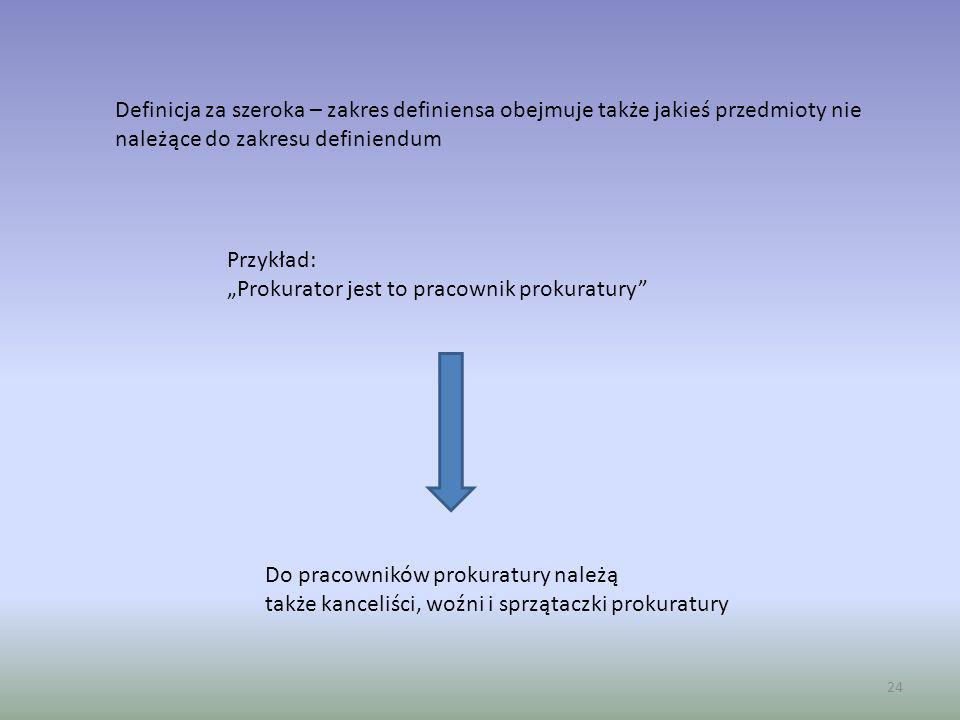 24 Definicja za szeroka – zakres definiensa obejmuje także jakieś przedmioty nie należące do zakresu definiendum Przykład: Prokurator jest to pracowni
