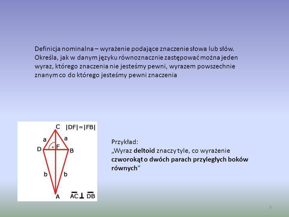 7 Dalsza część prezentacji będzie dotyczyła definicji nominalnych, które są głównym przedmiotem rozważań logiki.